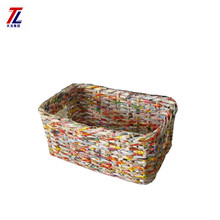 fashionable wholesales decorative eco-friendly woven recycled newspaper craft storage basket
