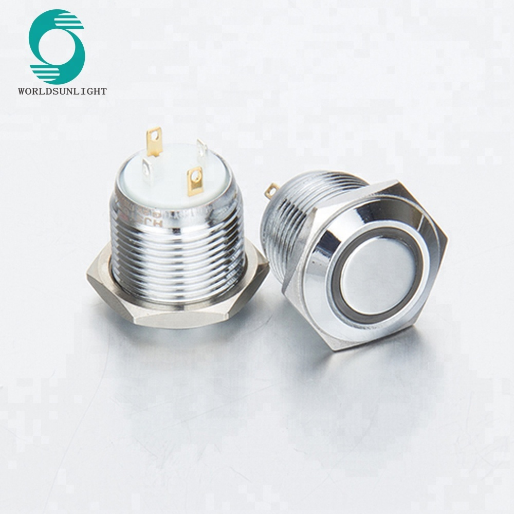 XL16S/FJ 16mm 5V LED Illuminated 1NO Metal reset Momentary Push Button <strong>Switch</strong>