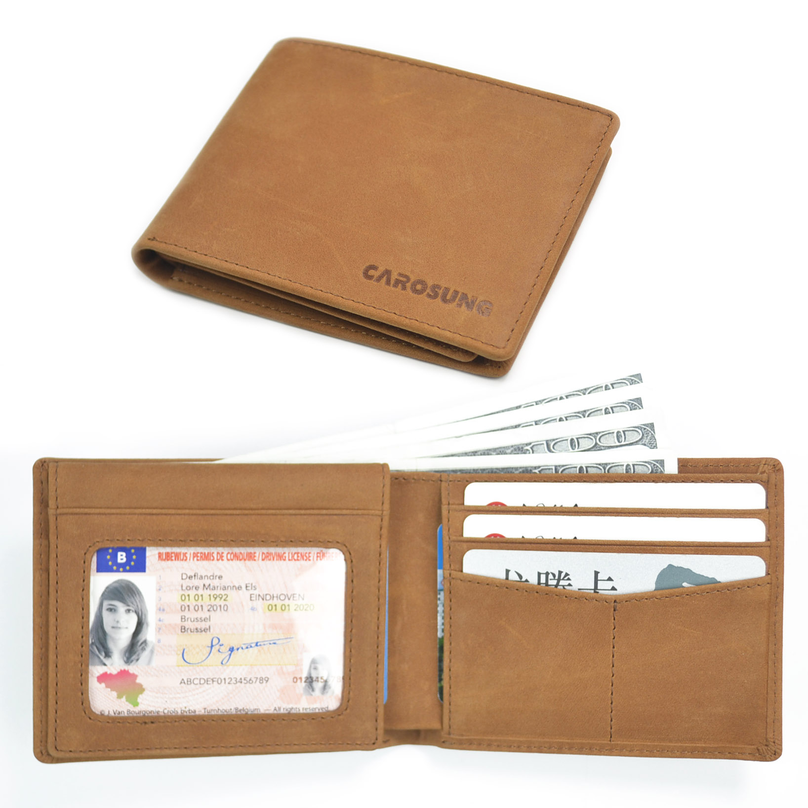 Custom genuine Leather RFID Blocking Bifold Stylish 2 ID Window wallet for <strong>men</strong>