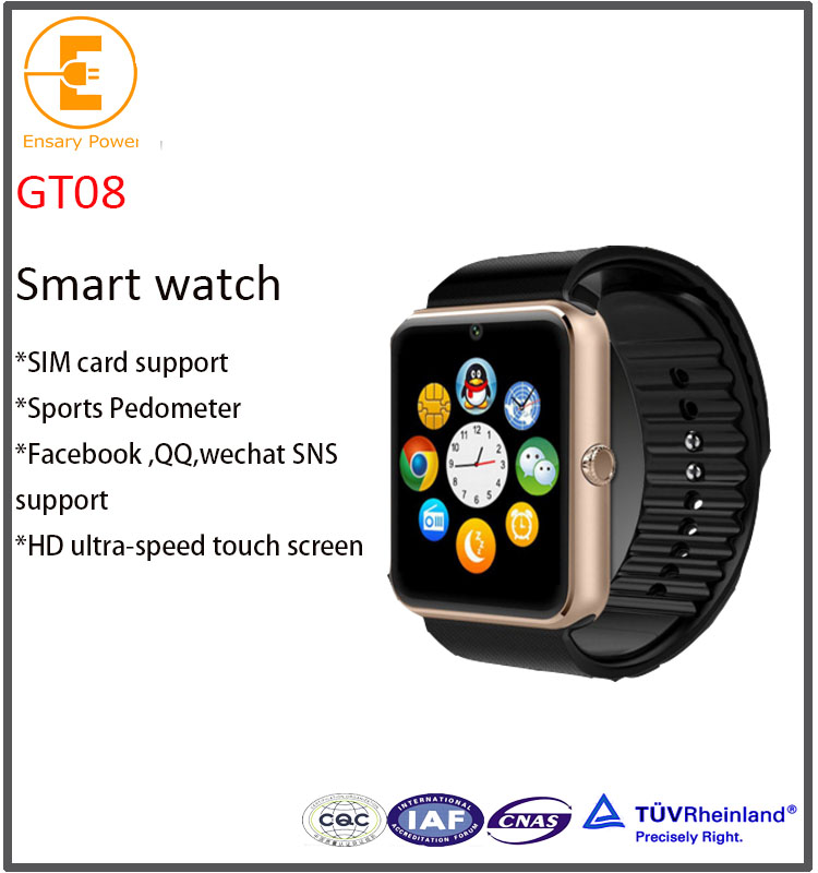 Hot Selling bands smart watch gt08 with sim card vs dz09 smart watch HD camera