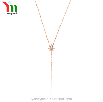fashion gold rosegold plated necklace Simple design long chain necklace dart pendant necklace