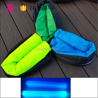 Wholesale hangout fast inflatable sofa air bed, cheap hangout sleeping bag with light