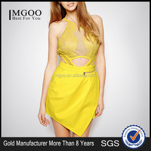 MGOO Gold Dress Manufacturer OEM/ODM Halter Neck Yellow Lace Dress Wrap Sexy Club Fashion Vestidos Party MX109