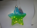 Hanging colorful glass star ball with led light ornaments