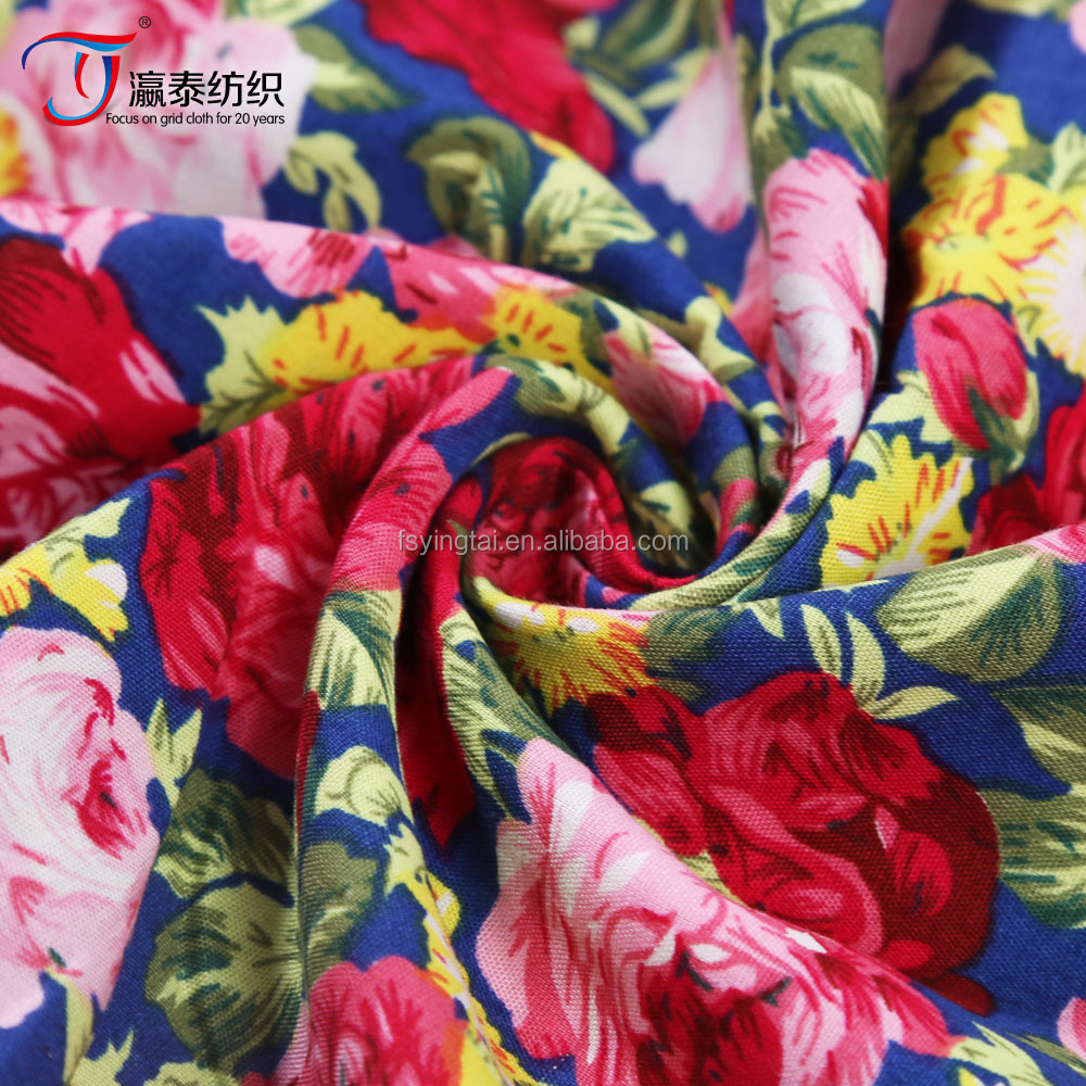 top quality 100% cotton rose big flower print fabric
