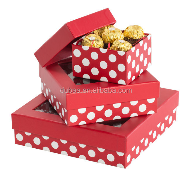 Chocolate Gift Boxes Rigid Window Box Dots