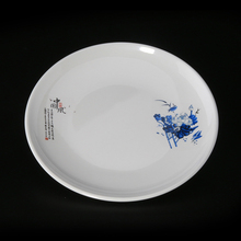 New custom print plastic serving plate round <strong>flat</strong> tableware cheap clear melamine dinner plate