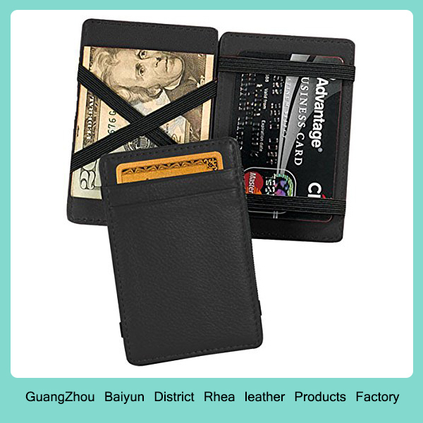 Mens Custom Business Credit Card Holders Personalized Slim Small Leather Minimalist Magic Wallet