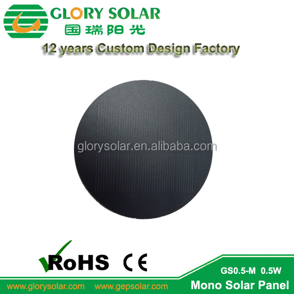 PET Monocrystalline Custom Mini Round Solar Panel 5V for LED Light