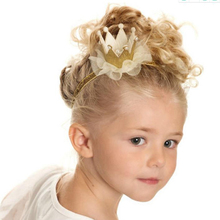European and American new jewelry children's headdress girls hair ornaments gold lace flowers sweet belt hair ribbon.