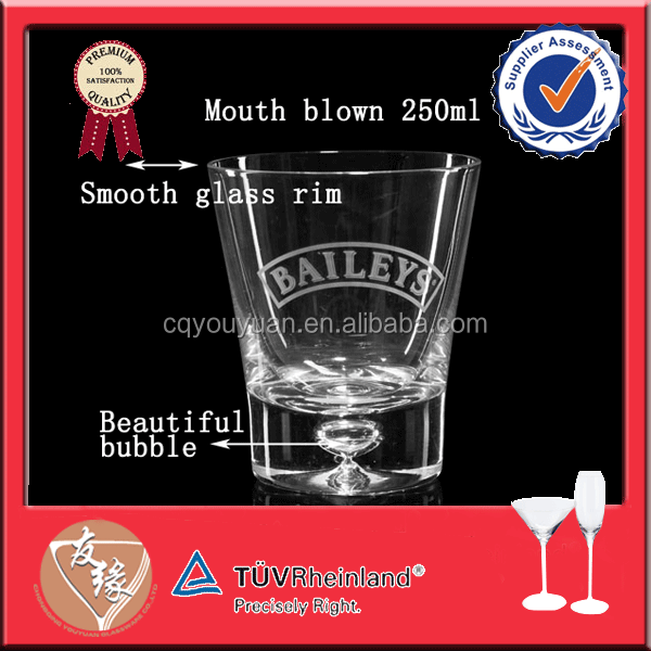 250ml mouth blown whiskey glass with bubble bottom