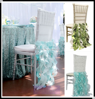 Tiffany blue ruffled wedding chair covers,curly willow chair sashes