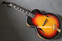 Musoo Brand AAA Hand Carved Super 400 Archtop Jazz Guitar In Sunburst With Hard Case(AR1500)