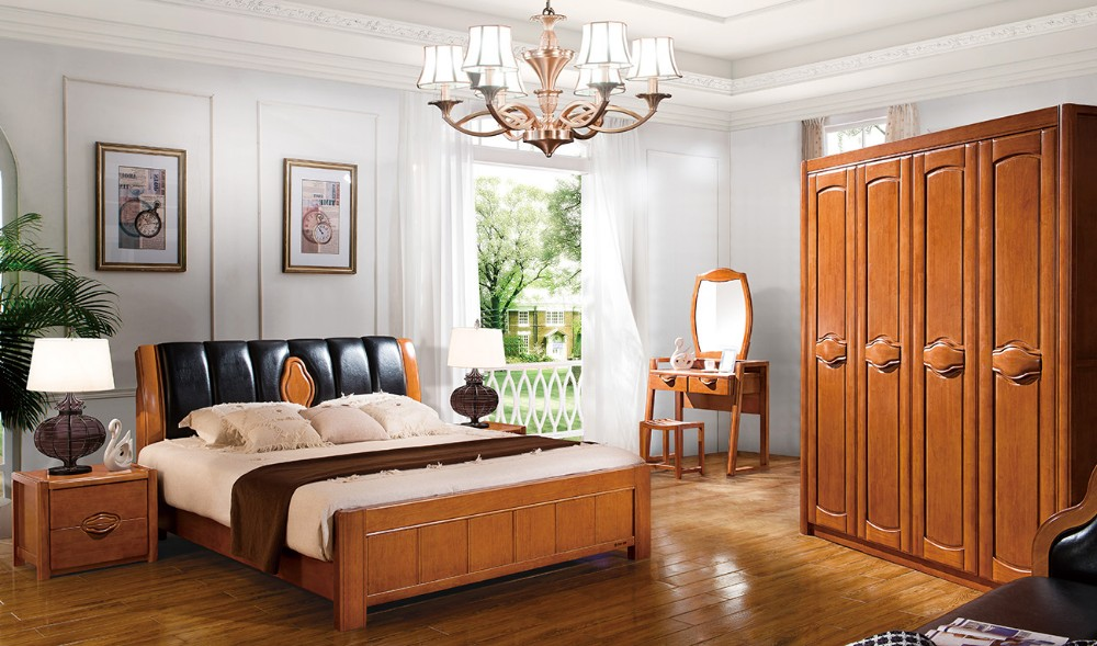 Hot sale modern solid wood bedroom set 8112