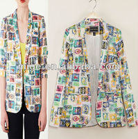 Branded blazers Autumn new European and American women's wholesale stamp printed single button suit JK0011