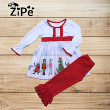 Wholesale Baby Girls Boutique Christmas Ruffle Outfits Clothing Toddler Clothing Set