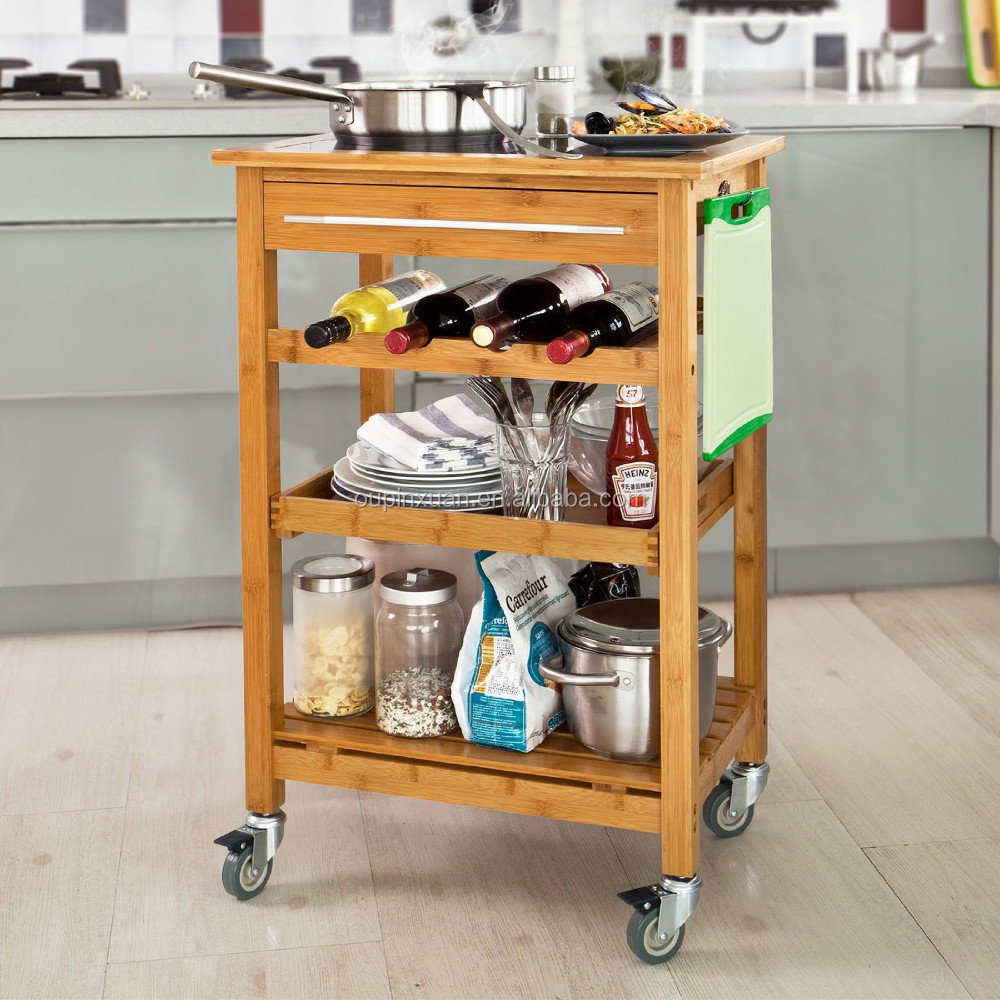 2015 new design 100% Bamboo 3 tiers Kitchen Trolley with wheel Kitchen Storage Cart with wine rack wholesale