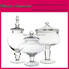 Set of 3 Large Decorative Clear Glass Apothecary Jars / Wedding Centerpieces / Candy Storage bottle buffet jar