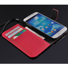 luxury leather flip wallet case for samsung galaxy s4 purse cover with card slots