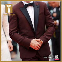 2016 Latest Wine Color Custom Made Mens Tuxedo Suits