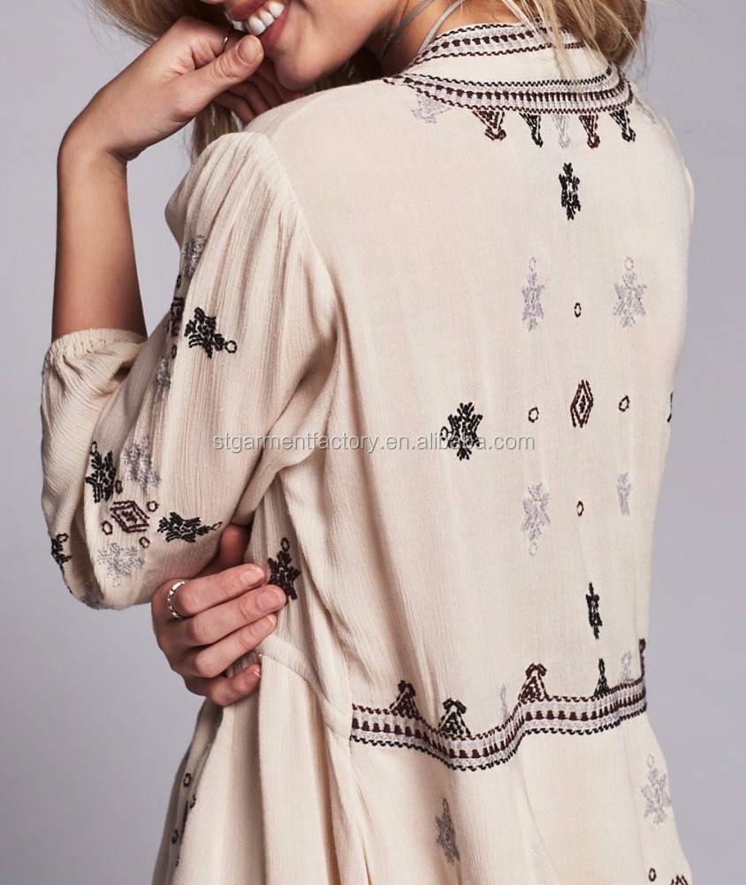 Vintage embroidered dresses ladies half sleeve elegant boho apparel Sta-270