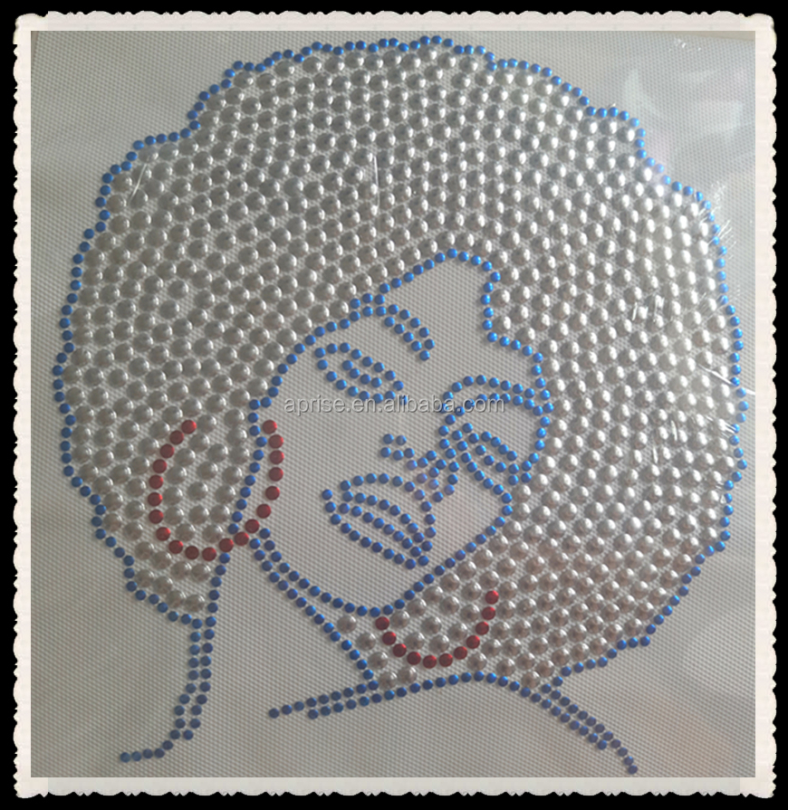 Afro Girls rhinestone transfer iron on nailhead Transfers Wholesale In China