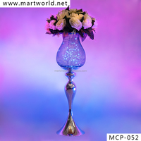 Fashion wedding metal centerpiece with LED light for wedding decoration, centerpiece stands with artificial flowers (MCP-052)
