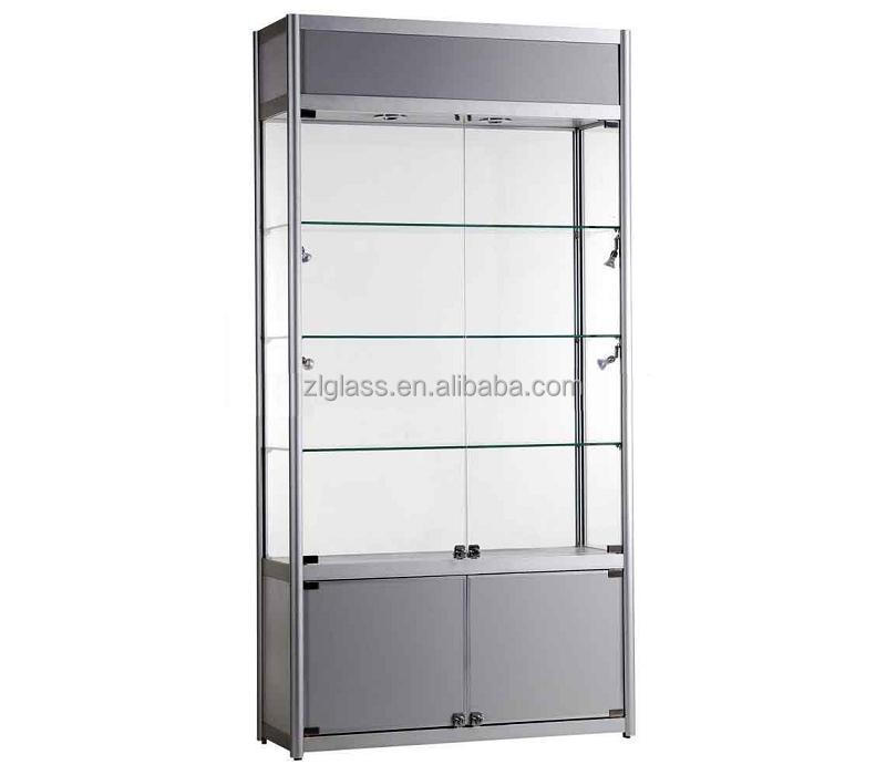 Competitive price transparent glass display cabinets for shoping mall glass