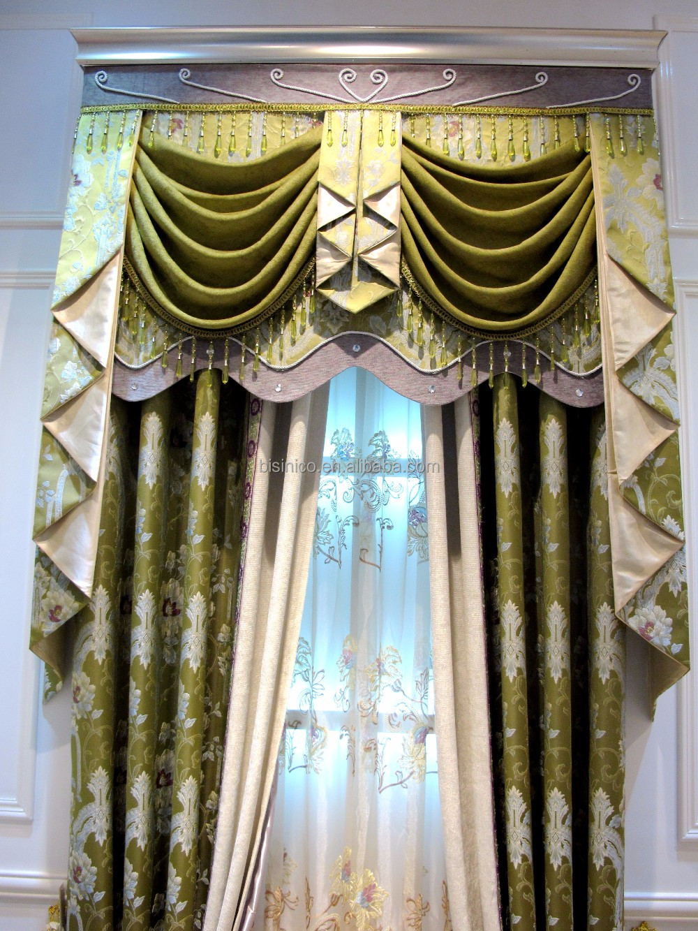 2016 New Design Luxury European Style Embroidery Window Curtains/Popular Green Refreshing Look Curtain Fabric