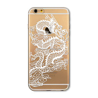Phone Case for iPhone 5 5S Transparent white Dragon painting PC Hard cover