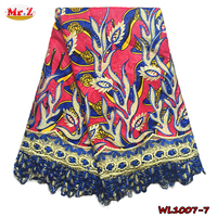2016 Wholesale 100% Print Cotton African Embroidered Hollandais Real Guipure Wax Lace Fabric With Stones WL1007