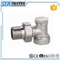 ART.5047 Competitive Price Copper China Supplier Forged Nickel Plated Brass Male Threaded Angle Radiator Valve With Brass Handle