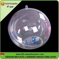 Christmas clear 2 half part plastic round ball container