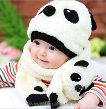 Winter panda children scarf, cartton baby hat and scarf set