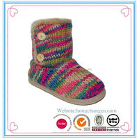 Ladies fancy colorful yarn knitting snow boots