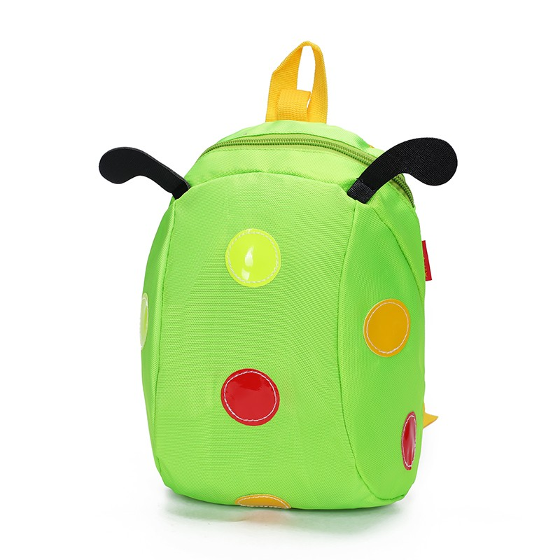 2017 Promotion Wholesale Cheap Light Weight Color Cartoon Ladybug Nylon Kids Preschool Backpack