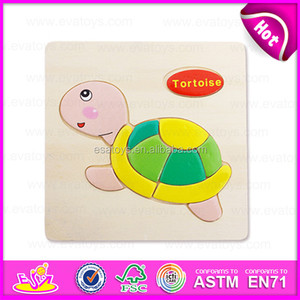 Cute tortoise DIY wooden shape puzzle toy for kids W14C090