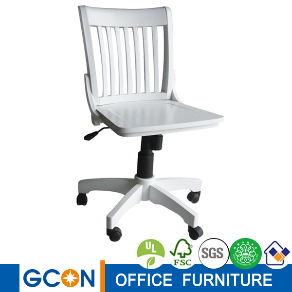 White Solid Wood Adjustable Swivel Office Chair