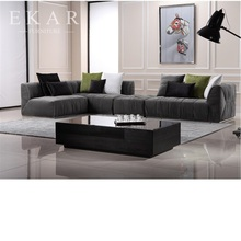 European French Style Cheap Extra Large Velvet Modern Elegant Black Sectional Sofa Furniture