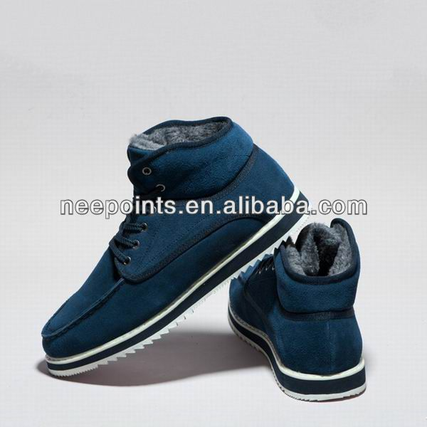 2014 high top men casual boot with warm lining and rubber outsole