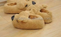 dog shape coral Plush winter house shoes Slippers / animal shape design warm indoor plush shoes