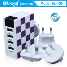 4 Port USB Wall Home Travel AC LED Power Charger Adapter 4.8A For iPhone EU US UK AUS