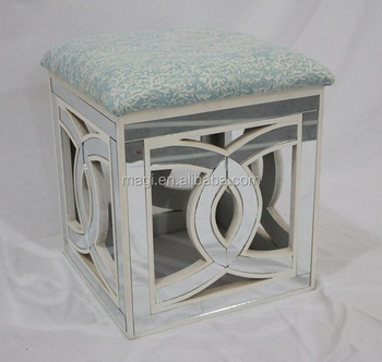 Vintage Home Decor Wooden Mirrored Stool