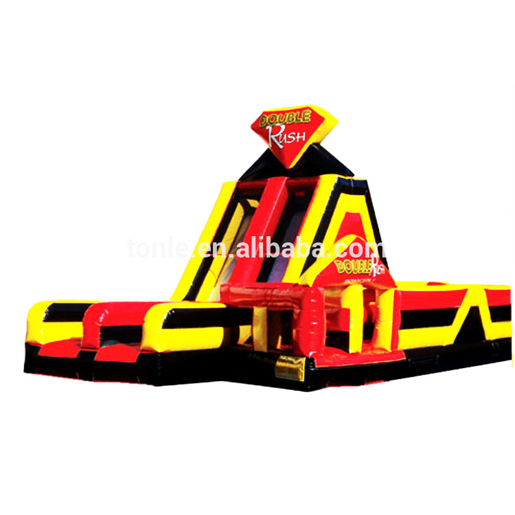 new design Double Rush Left inflatable obstacle course with slide, inflatable obstacle challenge