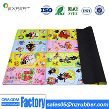 Carton design velvet surface natural rubber baby crawl anti slip play mats