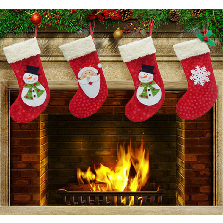 3pcs/Set Christmas Stockings New Year Candy Bag Stocking Christmas Decoration Gifts Santa Claus Socks Christmas Ornament