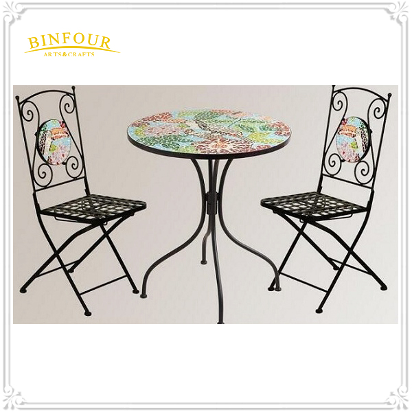 New Arrival metal garden mosaic furniture table and folding chair