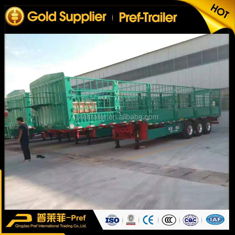 Hot selling 3 axles fence cargo trailer sheep cattle transport livestock trailer