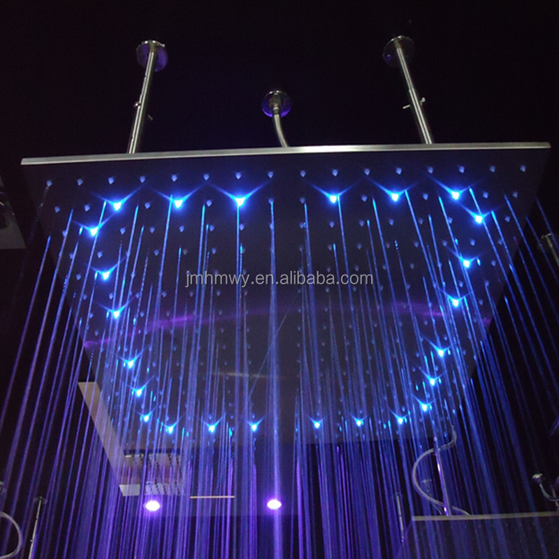 No battery need led high pressure 31 inches square rainfall color changing shower head