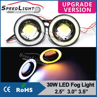 New Arrival Multi-fonction 30W 2.5 3.0 3.5 Inch COB Yellow Blue Car LED Fog Light Auto with Angel Eye